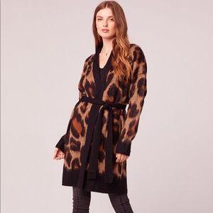 Fauve Oversized Leopard Print Cardigan Sweater